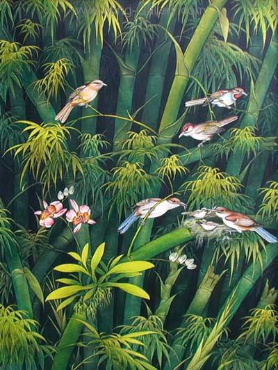ANB0013 - Oil Painting of Birds for Sale